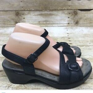 Dansko Black Buckle Ankle Strap Sandals